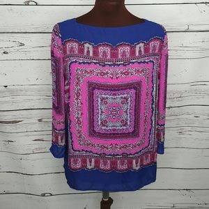 Adrianna Papell Blue Pink Blouse